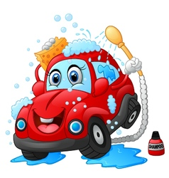 Cartoon car wash character vector