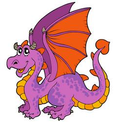 Cartoon dragon with big wings vector