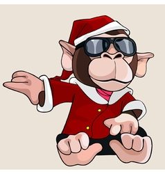 Cartoon monkey dressed as Santa Claus and glasses vector