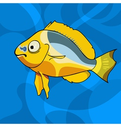 Cartoon tropical yellow fish vector
