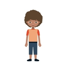 Child wavy hair with t-shirt and pants vector