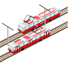 City trams in isometric view vector