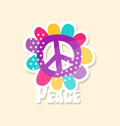 colorful peace sign cute sticker in bright colors vector image