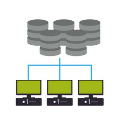 Computers network with data disks vector