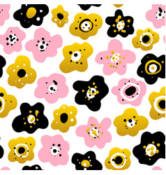 cute flowers seamless pattern vector image