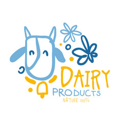 Dairy products logo symbol colorful hand drawn vector