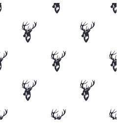 deer head pattern wild animal symbols seamless vector image