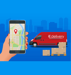 Delivery service via modern technology tracking vector