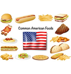 Different common American food set vector