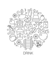 drinks in circle - concept line for vector image
