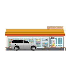 Drive thru supermarket with customer a purchased vector