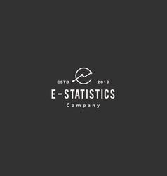 e letter stat stats logo hipster vintage retro vector image
