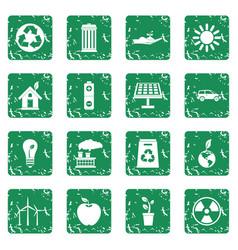 Ecology icons set grunge vector