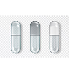 Empty glass capsule set isolated medical vector
