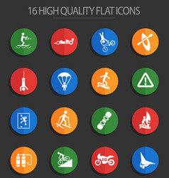 extreme sport 16 flat icons vector image