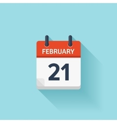 February 21 flat daily calendar icon Date vector image