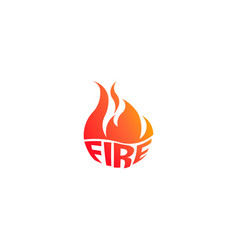 Fire flame with negative space logo symbol vector