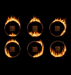 fire rings burning round frames borders vector image