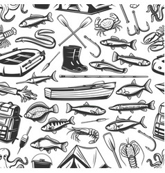 Fishing gear and seafood pattern vector