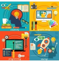 Flat concept banners Creativity programming vector image