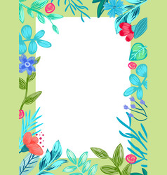 frame with flowers and leaves vector image