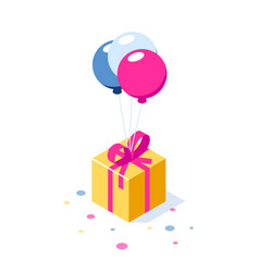 gift box with ribbon on ballons gift symbol vector image