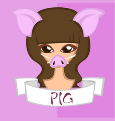 Girl in chinese zodiac theme pig vector