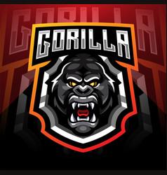 gorilla head esport mascot logo desain vector image
