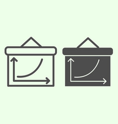 Graph board line and solid icon business grow vector