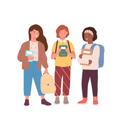 Group adorable diverse classmates girls vector