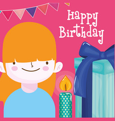 Happy birthday girl with candle gift box and vector