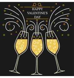 Happy valentines day greeting card EPS10 Champagn vector