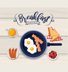 Healthy fried eggs with sliced bread vector