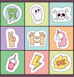 hipster patches elements hand drawn cute vector image