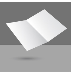 Hovering blank two fold paper brochure vector image