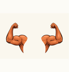 Human hands biceps on white vector