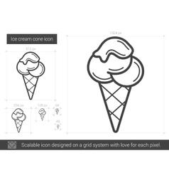 Ice cream cone line icon vector image