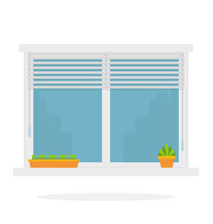 Inside a window with shutters and flowers flat vector