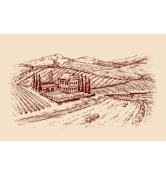 Italy italian landscape hand-drawn sketch vector
