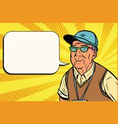 joyful old man in a baseball cap vector image