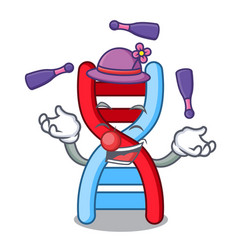 Juggling dna molecule mascot cartoon vector