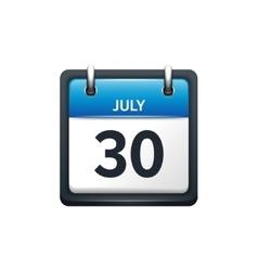 July 30 calendar icon flat vector