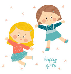 jumping kids cute little girls smiling and vector image