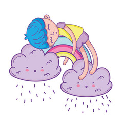kid on rainbow and clouds cartoon vector image