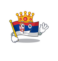 King serbian flags stored in cartoon drawer vector