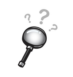 magnifying glass drawing with question marks vector image