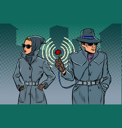 Man and woman secret agents spies vector