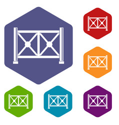 Metal fence icons set hexagon vector