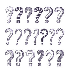 monochrome pictures set question marks doodle vector image
