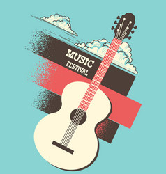 Music poster background with acoustic guitar and vector